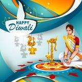 Illustration of decorated diya for Happy Diwali holiday background royalty free illustration