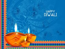 Illustration of decorated diya for Happy Diwali holiday background. Easy to edit vector illustration of decorated diya for Happy Diwali holiday background