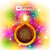 Illustration of decorated diya for Happy Diwali holiday background vector illustration