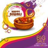 Illustration of decorated diya on Happy Diwali shopping sale offer stock illustration