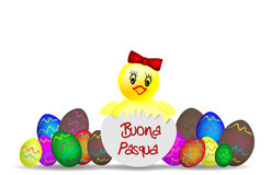 Illustration with decorated eggs and chick Royalty Free Stock Images