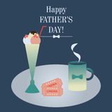 Illustration of decorated table for two. Dedicated Fathers Day. Stock Photos