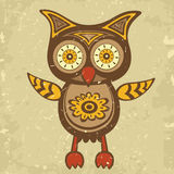 Decorative retro style owl Royalty Free Stock Image