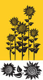 Illustration of decorative sunflowers. Stock Photos