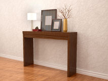 Illustration of decorative table near the wall Stock Image