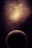 Illustration of a deep-space nebula. With planet Royalty Free Stock Photos