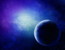 Illustration of a deep-space nebula. With planet Stock Photo