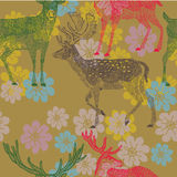 Illustration of deer with antlers, flowers Stock Image