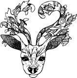 Illustration of a deer with peacock feathers in horns. Black and white vector of decorated deer Royalty Free Stock Photo
