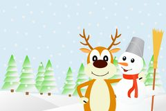 Illustration the deer and the snowman. Royalty Free Stock Image