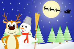 Illustration the deer and the snowman. Stock Image