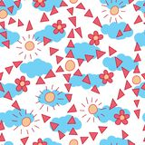 Flower style triangle sun cloud seamless pattern vector illustration