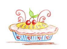 Illustration of delicious cake with cherries Stock Photos