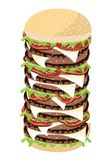 Big Cheese Burger on A White Background Stock Images
