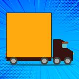 Illustration of Delivery Truck with Blank Covered Back Container for Word Space. Lorry Vehicle with Empty Room for Text stock illustration