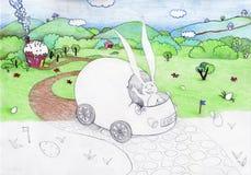 Illustration demi-finie de lapin de Pâques Image libre de droits