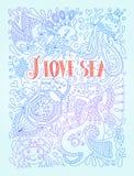 Illustration in den blauen Farben mit lustigen Fischen Stockbilder