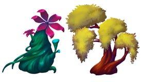 Illustration: Den enorma växtuppsättningen 2 Stora blommaträd royaltyfri illustrationer