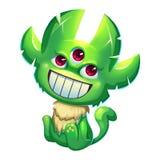 Illustration: Den fantastiska Forest Green Skin Monster Boy på vit bakgrund Royaltyfria Bilder