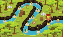 Jungle and River Game Level Map. Illustration of dense green jungle and river for creating game level map for adventure or puzzle games vector illustration