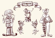 Clowns. Illustration depicting clowns and circus animals.  Image in the style of a circus vintage, drawing by hand. Vector drawing Stock Images