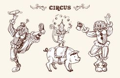 Clowns, monkey and a pig. Illustration depicting clowns, a juggling monkey and a pig. Image in retro style, drawing by hand. Vector drawing for the design of the Stock Photography