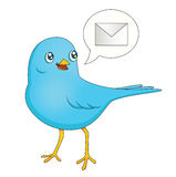 Blue Bird Message. An illustration depicting a cute cartoon blue bird bringing a message Stock Photo