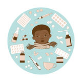 Illustration depicting the head of a black boy with a sore throat, muffled with a scarf, and medicines for treatment. Royalty Free Stock Image