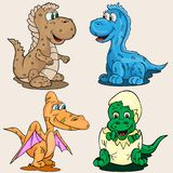 Illustration depicting little babies of different dinosaur child Stock Photos