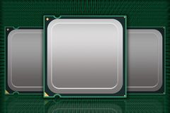 Multiple Generic CPU Chips Moving Data - Blank Stock Photography