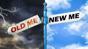 Illustration depicting a roadsign with a old life, new life conc Royalty Free Stock Photos