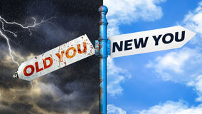 Illustration depicting a roadsign with a old you, new you conc Royalty Free Stock Images
