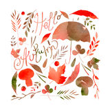Illustration depicting a set of leaves, twigs, berries, flowers, autumn elements. watercolor texture ocher, orange, gray, brown. Royalty Free Stock Photos