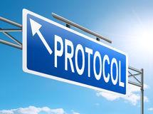 Protocol concept. Illustration depicting a sign with a protocol concept Royalty Free Stock Photo