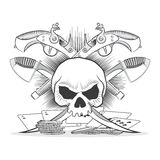 Illustration depicting a skull, pistols, sabers Stock Image