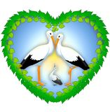Illustration, depicting the symbol of the family and the love of storks. In the heart of the leaves is an image of love birds on the background of the sun and Stock Photo