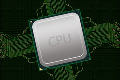Generic CPU with Electrical Connections & Data Stock Image