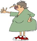 Angry woman. This illustration depicts an angry woman screaming with a hand on her hip Royalty Free Stock Image