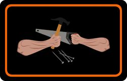 Illustration of carpentry advertising. The illustration depicts carpentry advertising. Hands and tool are displayed stock illustration