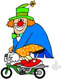 Clown on a mini bike. This illustration depicts a circus clown riding a small motorcycle Royalty Free Stock Photography