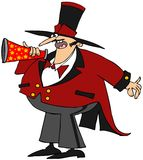 Ringmaster with a megaphone. This illustration depicts a circus ringmaster speaking into a megaphone Royalty Free Stock Photography
