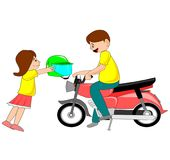 The illustration depicts a daughter sending a helmet to her father. The illustration depicts a daughter sending a helmet to her father who is traveling by royalty free illustration