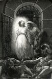 The Deliverance of St. Peter From Prison Illustration. This illustration depicts The deliverance of St. Peter from prison engraving circa 1862 royalty free illustration