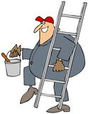 Painter carrying a ladder. This illustration depicts a man in coveralls carrying a ladder and bucket of paint Royalty Free Stock Photography