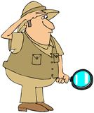 Safari man with magnifying glass. This illustration depicts a man in a safari hat and vest holding a magnifying glass Royalty Free Stock Photos