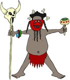 Cannibal headhunter. This illustration depicts a native headhunter wearing a mask and holding a skull on a stick and a rattle Stock Photography