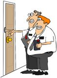 Missionaries. This illustration depicts a pair of missionaries holding religious books and ringing a doorbell Stock Photography