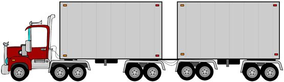 Double trailer. This illustration depicts a semi tractor pulling a double trailer Royalty Free Stock Image