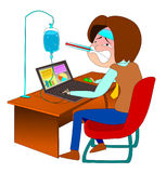 The illustration depicts the sick employee. The depicts the sick employee royalty free illustration