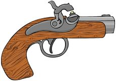 Black powder pistol. This illustration depicts a small black powder pistol Royalty Free Stock Photos
